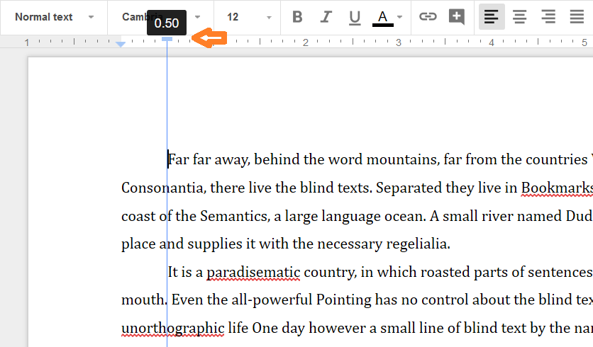 how to change the size og paragraph in google drive